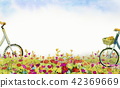 Romantic postcard with bicycle in daisy field. 42369669