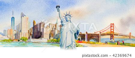 Famous landmarks in USA. 42369674