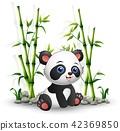 Vector illustration of Baby panda sitting among 42369850