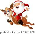 Vector illustration of Happy Santa claus riding 42370120