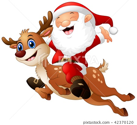 Vector illustration of Happy Santa claus riding 42370120