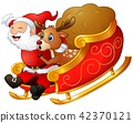 Illustration of Santa claus and a reindeer riding  42370121