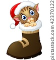 Illustration of Christmas kitten in santa boots 42370122