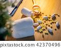 Pills spilling out of pill bottle on doctor desk 42370496
