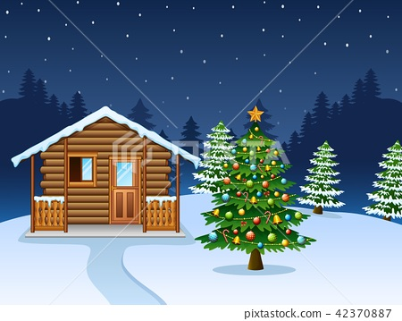 Christmas night scene with a snowy wooden house 42370887