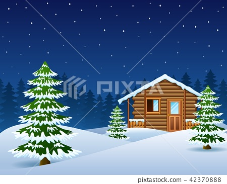 Christmas wooden house with fir trees 42370888