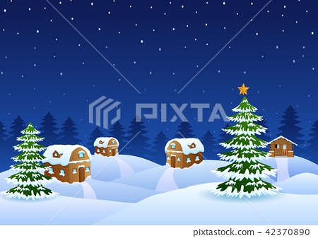 Christmas night scene with a snowy wooden house 42370890