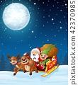 Santa and elf cartoon a riding in sled sleigh 42370985