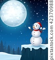 Snowman christmas in the winter night background 42370988