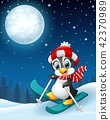 Snowboarding penguin cartoon in the winter night 42370989