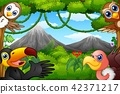 Wild birds cartoon with a mountain in a forest 42371217