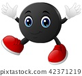 Happy cartoon hockey puck character with smiling 42371219