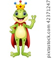 Frog prince cartoon waving hand 42371247