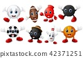 Set of cartoon sports balls equipment 42371251