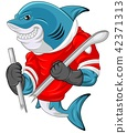 Cartoon shark mascot wearing a hockey jersey while 42371313