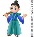 Cartoon japanese samurai warrior with wooden sword 42371316