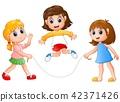 Three girls playing jump rope 42371426