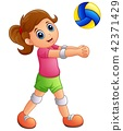 Cartoon girl playing volleyball 42371429