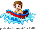Cartoon little boy rowing a boat 42371506