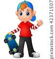 Cartoon boy holding skateboard 42371507