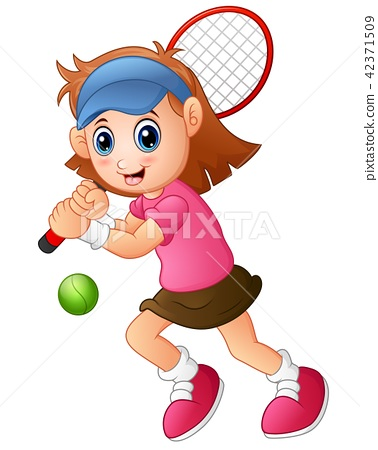 Young girl playing tennis on a white background 42371509