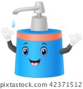 Liquid soap bottle cartoon raising its hand 42371512
