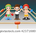 Two boxers at the boxing ring. Boxers in blue 42371680