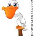 Vector illustration of Cartoon Pelican in the bay 42371799