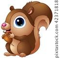 Cute baby squirrel cartoon a holding acorns 42371818