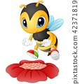 Cartoon bee happy to see the flower 42371819