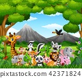 Cartoon wild animal in the jungle 42371824
