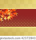 秋葉日式秋葉狩獵日本模式楓葉框架方格的圖案 42372843
