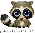 Cute baby raccoon sitting 42373177