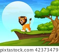 Cartoon lion near the cliff 42373479