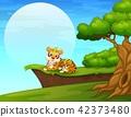 Cartoon tiger lay down near the cliff 42373480