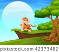 Cartoon tiger smiling near the cliff 42373482