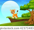 Cartoon lion near the cliff 42373483