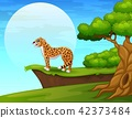 Illustration of Cartoon cheetah near the cliff 42373484