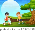 Cartoon two boy playing near the cliff 42373630