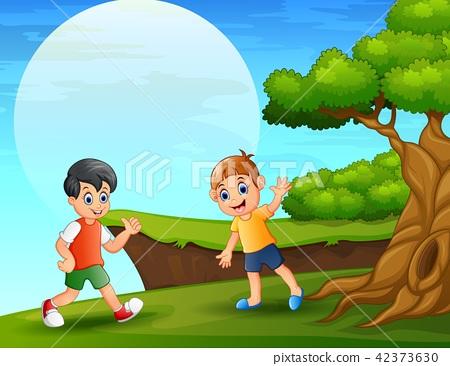 Cartoon two boy playing near the cliff 42373630
