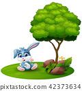 Cartoon rabbit sitting under a tree 42373634