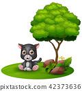 Cartoon baby jaguar sitting under a tree 42373636