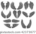 Vector set of different angel or bird wings with gray feathers and black contour. Old-school tattoo 42373677