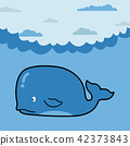 Whale in cartoon style 42373843