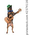 Miniature Pinscher dog with a guitar and a hat 42374116