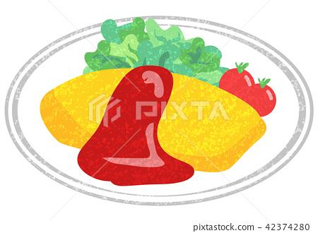 大米煎蛋 蛋包饭 手绘 42374280