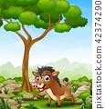 Cartoon warthog in the jungle 42374290