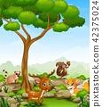 Illustration of Wild animal cartoon in the jungle 42375024