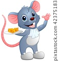 Cartoon mouse holding a slice of cheese on a plate 42375183