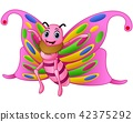 Vector illustration of Cute butterfly cartoon 42375292